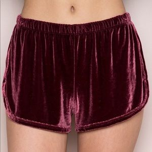 Wine Brandy Melville Velvet Shorts